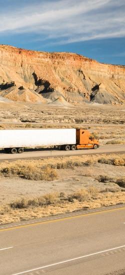 Truck making an expedited shipment through desert