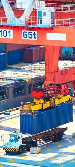 Intermodal shipping at a dock yard