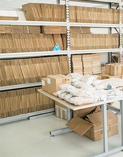 Freshly shipped cardboard in warehouse