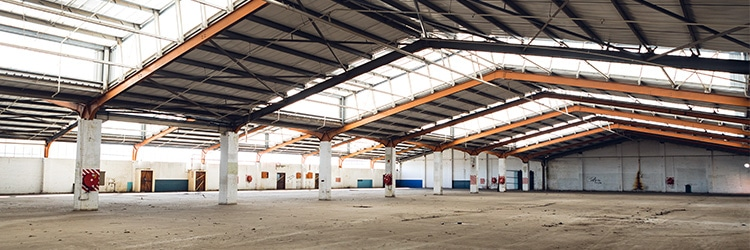 Empty warehouse as a result in slowdown in shipping and 3PL operations